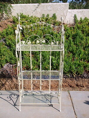 Wrought Iron Book Baker Rack Plant Stand Shabby Chic 3 Glass Shelf Lamp Crystal