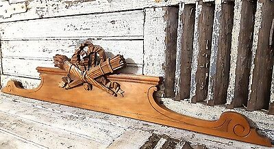PEDIMENT BOW LOUIS XVI ANTIQUE FRENCH CARVED WOOD IMPROVEMENT CHATEAU 19th 49 in