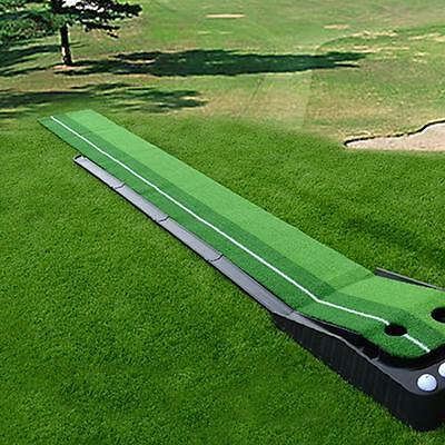 A Set of Portable Golf Practice Putting Mat Trainer Training Indoor Outdoor 2.5M