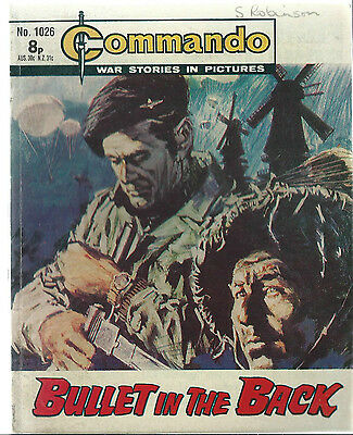 Bullet In The Back,commando War Stories In Pictures,no.1026,war Comic,1976