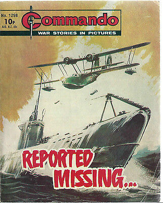 Reported Missing,commando War Stories In Pictures,no.1298,war Comic,1979