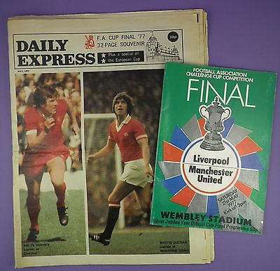 Daily Express FA Cup Final 1977 Souvenir + Programme, Man Utd v Liverpool