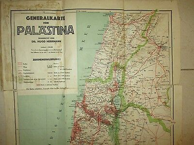 A GENERAL COLORED MAP OF PALESTINE, 1:500000 SCALE, PUBLISHED IN WIEN 1934.gb600
