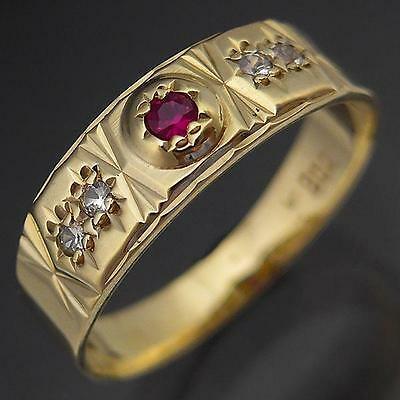 Vintage Patterned 9K GOLD RUBY & SPINEL ETERNITY BAND solid yellow ring Sz O