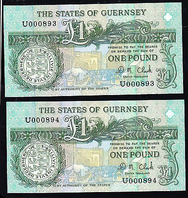 Guernsey, 1 Pound Banknote UNC Consec Pair 1991