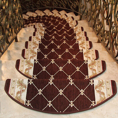 Brown Stair Anti-slip Treads Grid Style Mat Staircase Stairway Protective Carpet