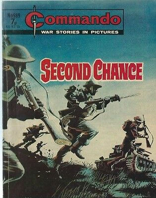 Second Chance,commando War Stories In Pictures,no.989,war Comic,1975