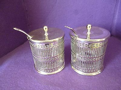 A Fabulous Designed Pair Of Vintage Silver Plated Preserved Holders, Complete