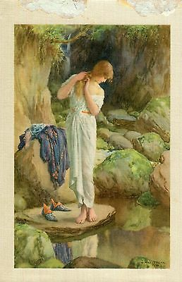 Printed Silk,Lady in White Shift looking into a Pool ,W.H.Margetson.1924.