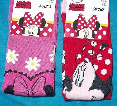 BNWT Disney Minnie Mouse 2x pairs girls socks UK size 12.5-3.5 Red/Pink