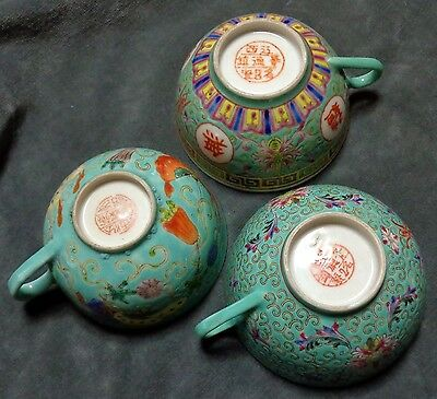 CINA (China): lot of 3 pieces of old Chinese porcelain cup with handle