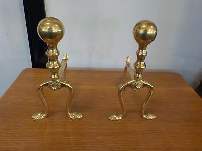 Antique Pair Of  Brass Fire Dogs / Andirons