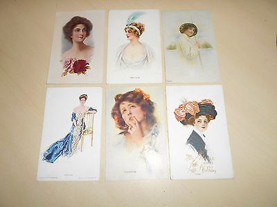 Lovely Collection Of 6 Early Artist Glamour Postcards (1)