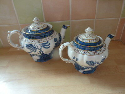 Booths Real Old Willow Pattern Teapots x 2  A8025 Blue & White