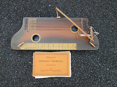 Vintage 20s Stella Hawaiian TREMOLOA Zither w/ Lap Slide Guitar Feature & BOOK!!