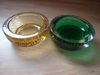 Whitefriars Controlled Bubble Glass Small Dishes Ornage & Green