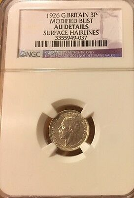 3 PENCE 1926 MODIFIED BUST NGC AU MAUNDY Great Britain 3P