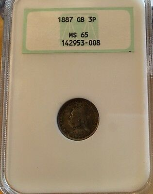 3 PENCE 1887 NGC MS 65 Great Britain
