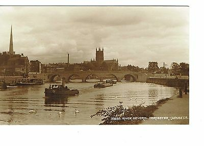 Worcester The River Severn With Barges  Rp 1920's Publisher Judges