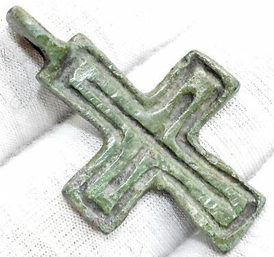 Genuine Medieval - Knights Period Bronze Cross Pendant - Historical Gift - Qr34