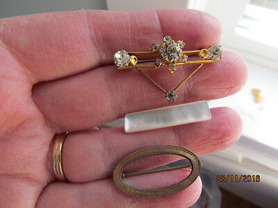 Antique Victorian Deco Gold Gilt Rhinestone Star Mother of Pearl Brooches