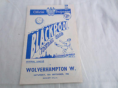 1956-57 CENTRAL LEAGUE RESERVES BLACKPOOL v WOLVERHAMPTON WANDERERS