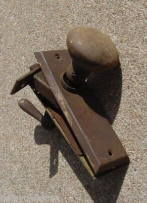 Antique Cabinet Pantry Door Closet Knob Set assembly Backplates Handle Brown