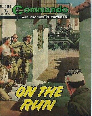 On The Run,commando War Stories In Pictures,no.1002,war Comic,1976
