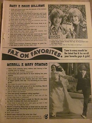Merrill Osmond, Full Page Vintage Clipping