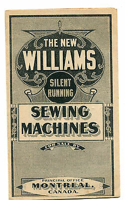 Williams, Montreal Treadle Sewing Machines, Price List c1900