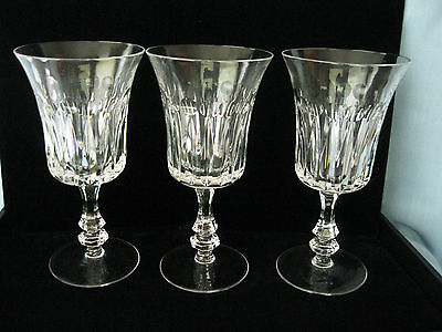 """3 Gorham De Medici Crystal Water Goblets Red Wine Stems 7"""" Tall Mint"""