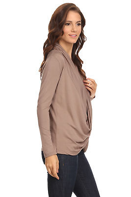 Women's Coffee Long Sleeve Criss Cross Cardigan Small to 3XL Made in USA