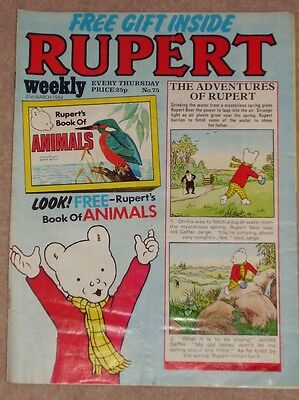 RUPERT BEAR WEEKLY COMIC NO. 75 DATED 21st MARCH 1984 COMPLETE WITH FREE GIFT