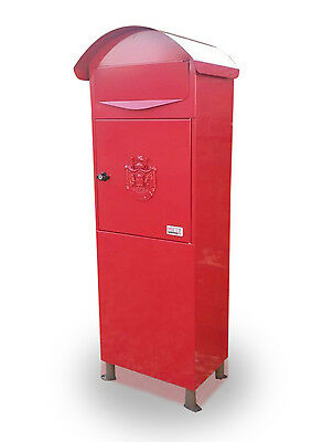 05 METZ Large Red Royal crest Secure Letter Post Mail Box Letterbox traditional