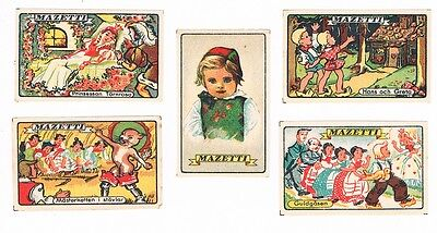 Set of 5 Old Sweden c1900s matchbox labels Mazetti.
