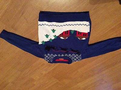 Blue childrens Christmas jumper 12-18 months with santa on sleigh