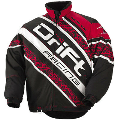 Drift Racing Men's Qualifier Winter Snowmobile Jacket - Black / Red - 5245-06_