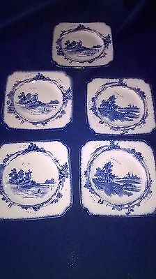 Royal Doulton  Blue And White Norfolk Pattern Square Tea Plate's X 5