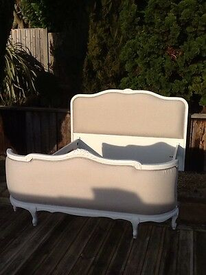 French antique kingsize bed farrow & ball grey linen new upholstery with base