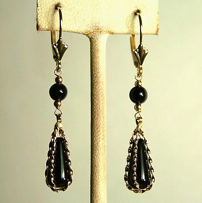 14k solid yellow gold natural teardrop black Onyx earrings leverback
