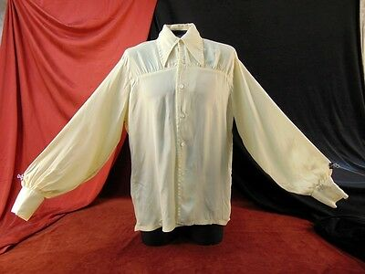 Vtg 70s MENS WHITE ECRU DISCO BLOUSE Shirt BALLOON SLEEVE Gathered Pongee LG SS