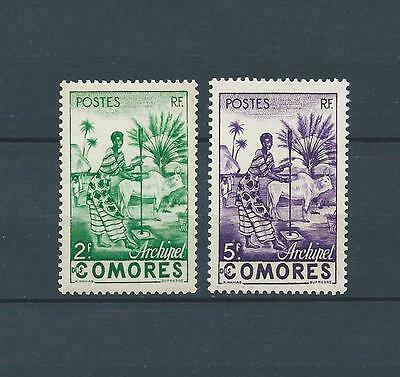 COMORES - 1950-52 YT 4 à 5 - TIMBRES NEUFS** LUXE