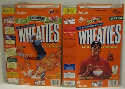 2 different Tiger Woods Wheaties Cereal Box, 1999