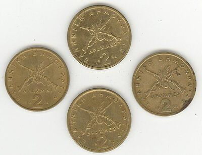 Coin - Greece (4  Assorted Dates) - 2 Drachmes