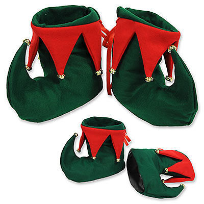 Adult Elf Boots Shoes with Jingle bells Christmas Costume Accessory