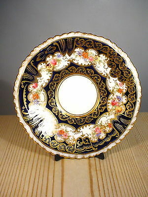 Crown Staffordshire Antique Gilt Blue & Flowers Saucer a807