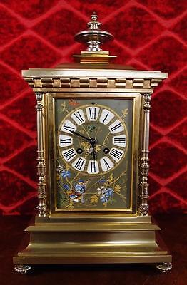 Superb antique 19thc French brass & porcelain mantle clock by Archilles Brocot