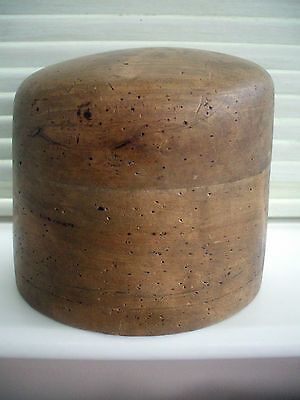 ANTIQUE WOODEN HAT-BLOCK 22in c1930s AND WELL PIN-PRICKED + 3 HOLES IN BASE VGC
