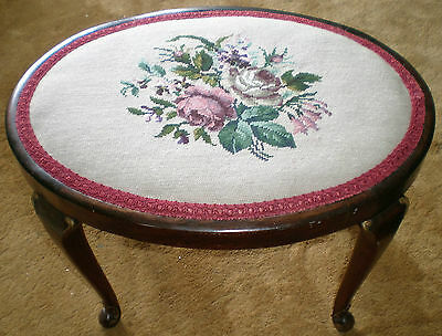 Vintage Stool With Tapestry Seat