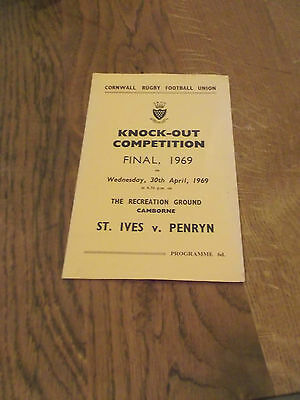 1979 Cornwall Rugby Union Final Programme St Ives V Penryn